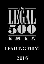 Legal 500 EMEA - Leading Firm 2016