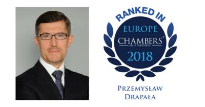 Chambers Europe 2018 – Wyróżnienie dla Prof. Przemysława Drapały i kancelarii JARA DRAPAŁA & PARTNERS