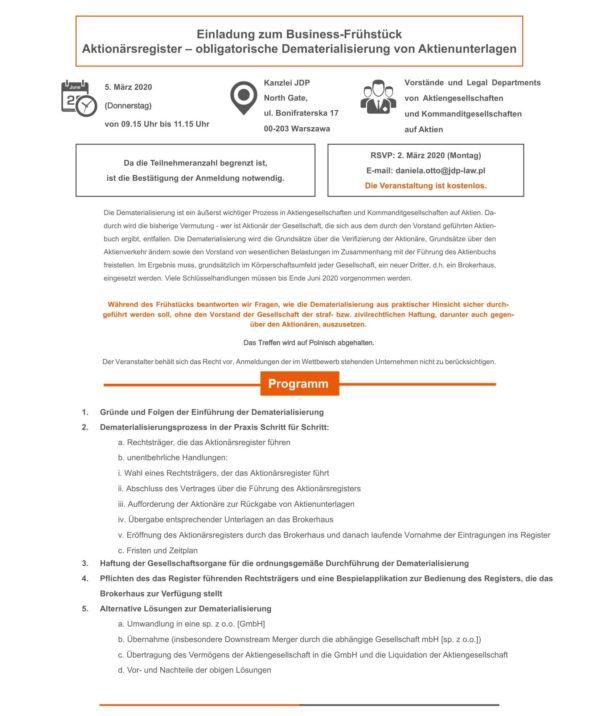 Einladung zum Business-Frühstück: Aktionärsregister