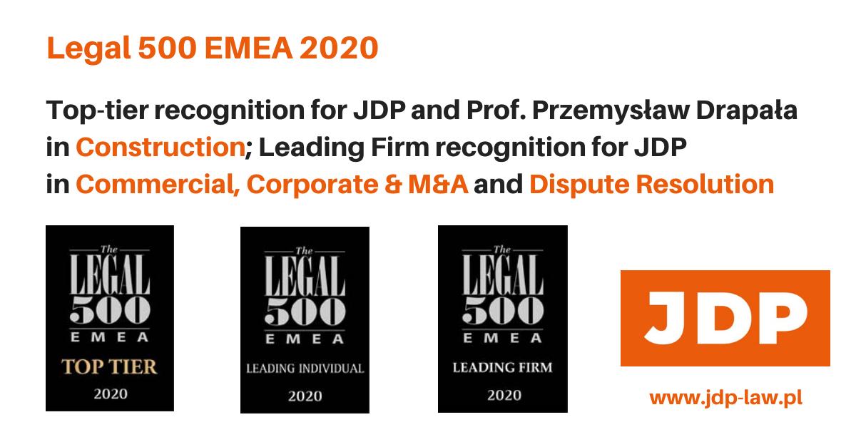 The Legal 500 EMEA 2020: pozycja Top Tier dla kancelarii i Prof. Przemysława Drapały w kategorii Construction oraz wyróżnienie Leading Firm dla kancelarii w kategoriach Commercial, Corporate & M&A i Dispute Resolution