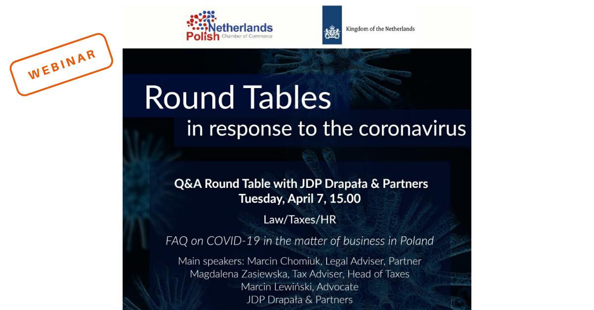 Udział prawników z JDP w webinarze NPCC na temat wpływu Covid-19 na biznes w Polsce z perspektywy prawnej i podatkowej