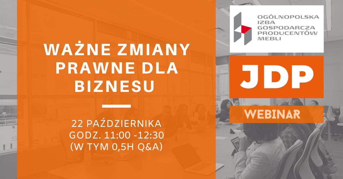 Ważne zmiany prawne dla biznesu – konieczność weryfikacji wzorów umów i OWU | Webinar JDP i OIGPM Polska