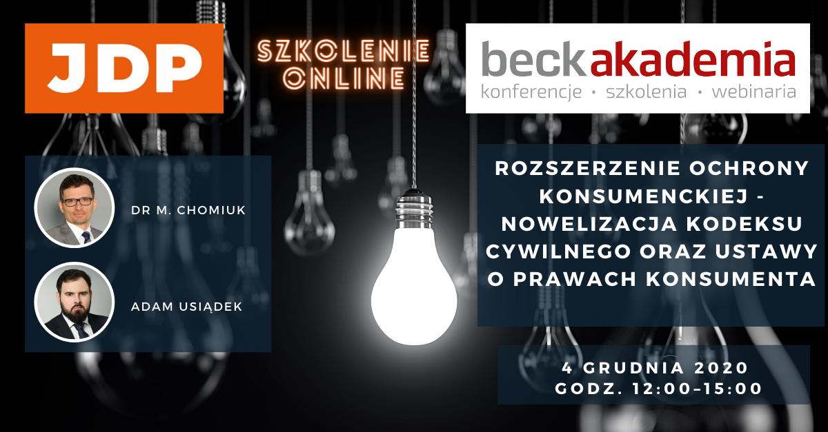 Rozszerzenie ochrony konsumenckiej – nowelizacja Kodeksu cywilnego oraz ustawy o prawach konsumenta | szkolenie on-line